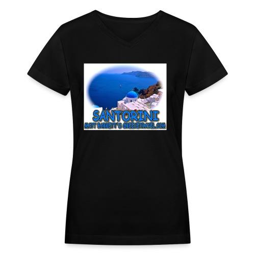 SANTORINI CHURCH jpg - Women's V-Neck T-Shirt
