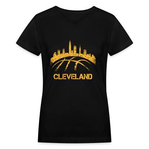 Cleveland Basketball Skyline - Women's V-Neck T-Shirt