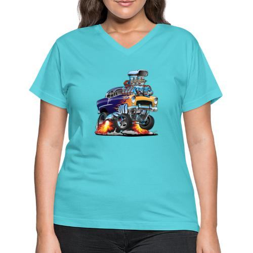 Classic Fifties Hot Rod Muscle Car Cartoon - Women's V-Neck T-Shirt