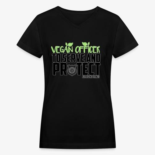vegan officer - Women's V-Neck T-Shirt