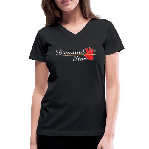 Diemond Star Logo White Font - Women's V-Neck T-Shirt