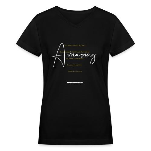 AMAZING (White Design) - Women's V-Neck T-Shirt