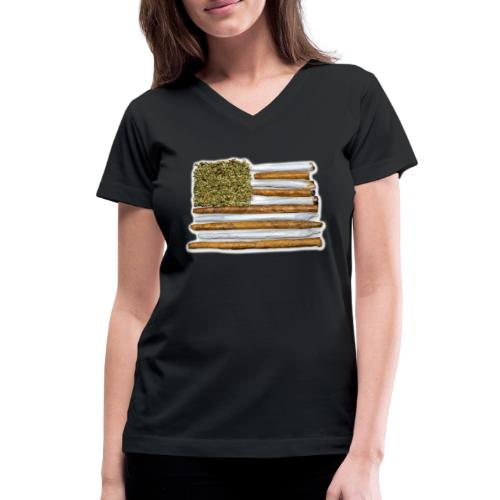 American Flag With Joint - Women's V-Neck T-Shirt