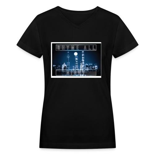 Rhyme All Night Tank - Women's V-Neck T-Shirt