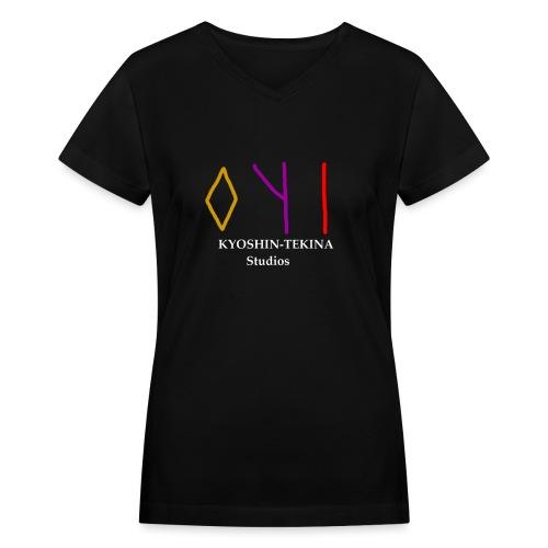 Kyoshin-Tekina Studios logo (white text) - Women's V-Neck T-Shirt