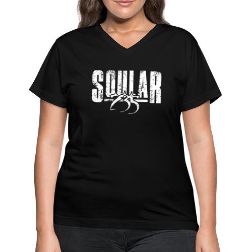 Soular235 White Logo - Women's V-Neck T-Shirt