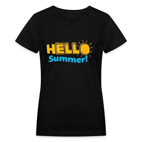 Kreative In Kinder Hello Summer! - Women's V-Neck T-Shirt