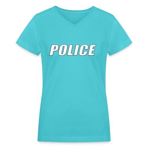 Police White - Women's V-Neck T-Shirt