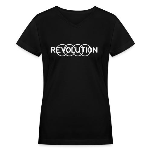 White Revolution Logo - Women's V-Neck T-Shirt