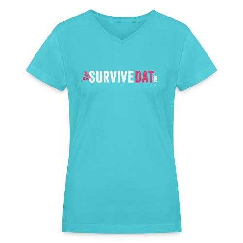 survive dat final logo horizontal pink white notag - Women's V-Neck T-Shirt