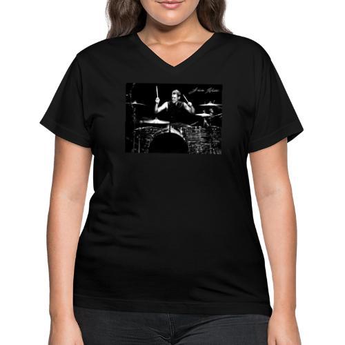 Landon Hall On Drums - Women's V-Neck T-Shirt