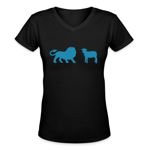 Lion and the Lamb - Women's V-Neck T-Shirt