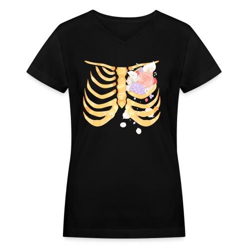 Pastel Goth Gold Rib Cage Shirt - Women's V-Neck T-Shirt
