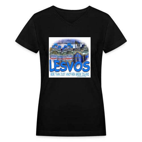 LESVOS OUZO BLUE jpg - Women's V-Neck T-Shirt
