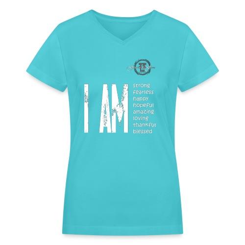I AM ... Feminine and Fierce - Women's V-Neck T-Shirt