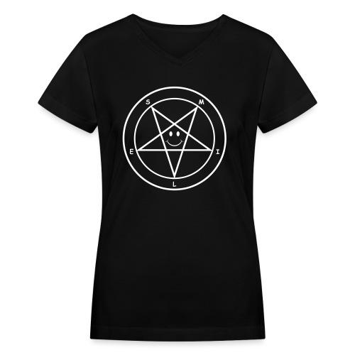 Smile Pentagram - Women's V-Neck T-Shirt