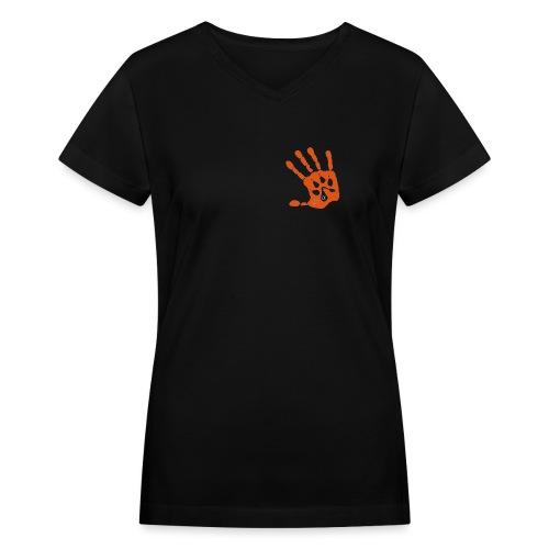 1WP Watermark Hand Paw - Women's V-Neck T-Shirt