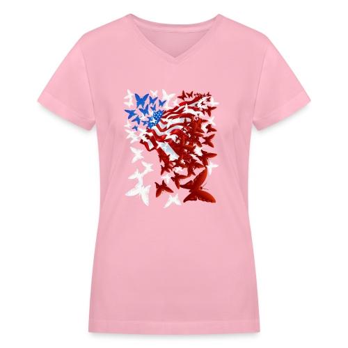 The Butterfly Flag - Women's V-Neck T-Shirt