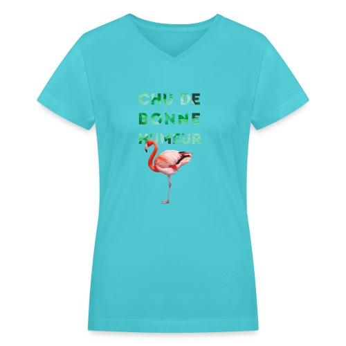 Pl_tshirt_typo flamand_40 - Women's V-Neck T-Shirt