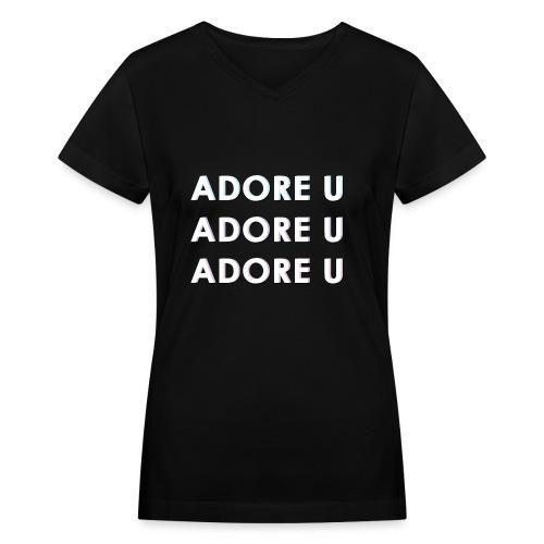 adore u typography png - Women's V-Neck T-Shirt