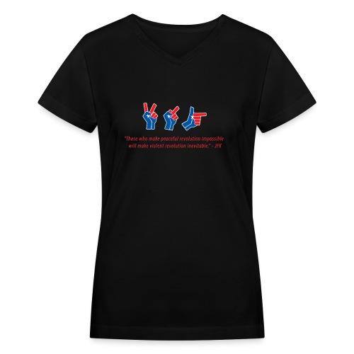 evolutionofrevolutionJFK - Women's V-Neck T-Shirt