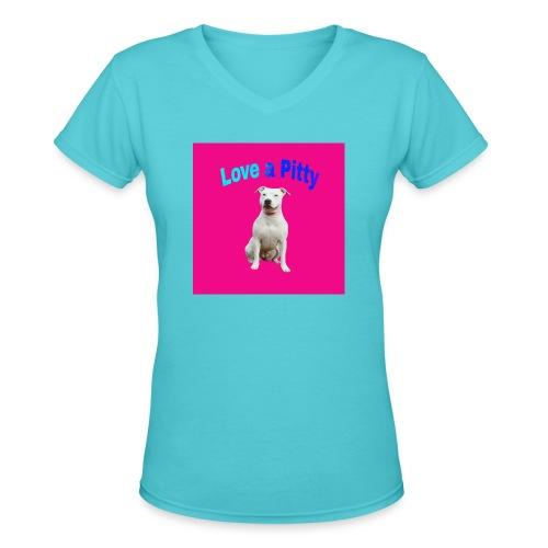 Pink Pit Bull - Women's V-Neck T-Shirt