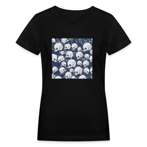 Skul Doodle - Women's V-Neck T-Shirt