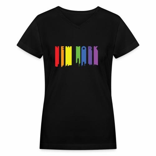 New York design Rainbow - Women's V-Neck T-Shirt