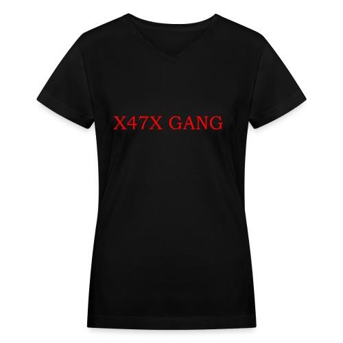 X47X GANNNGGGGG - Women's V-Neck T-Shirt