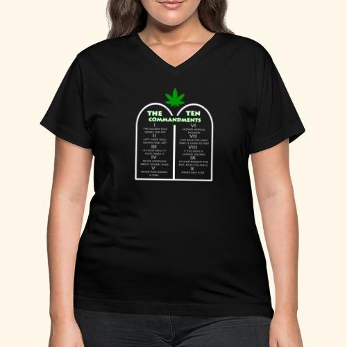 The Ten Commandments of cannabis - Women's V-Neck T-Shirt