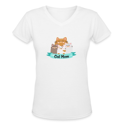 Cat MOM, Cat Mother, Cat Mum, Mother's Day - Women's V-Neck T-Shirt
