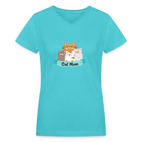Cat MOM, Cat Mother, Cat Mum, Mother's Day - Women's V-Neck T-Shirt
