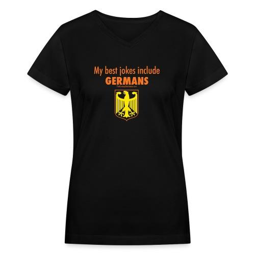 16 Germans colored lettering - Women's V-Neck T-Shirt