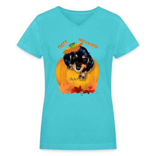 Halloween Dashund Puppy-Boo - Women's V-Neck T-Shirt