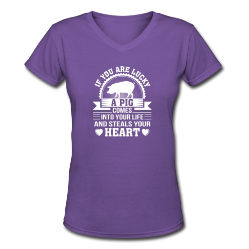 Mini Pig Comes Your Life Steals Heart - Women's V-Neck T-Shirt