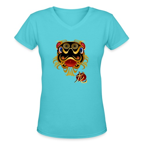 Black n Gold Chinese Dragon 's Face and Symbol - Women's V-Neck T-Shirt