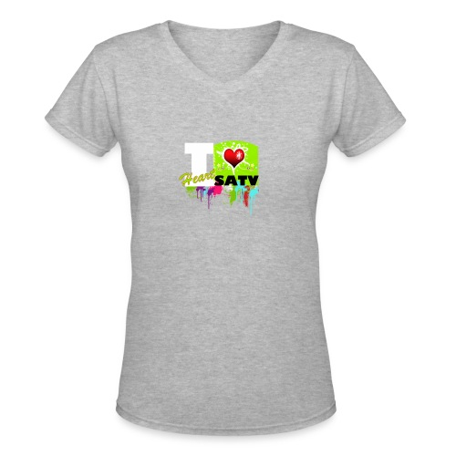 I Love SATV - Women's V-Neck T-Shirt
