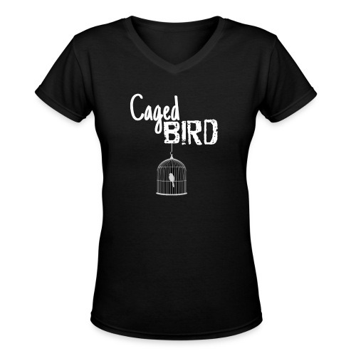 Caged Bird Abstract Design - Women's V-Neck T-Shirt