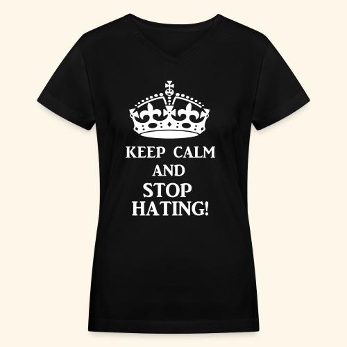 stoph8ingwht - Women's V-Neck T-Shirt