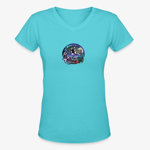 Mother CreepyPasta Nursery Rhyme Circle Design - Women's V-Neck T-Shirt