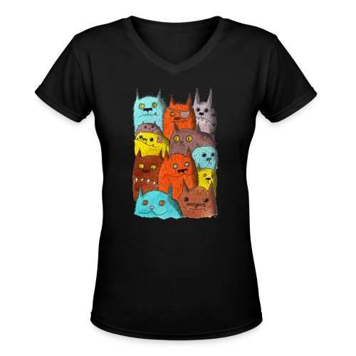 The Cats of Meow Tyson B - Women's V-Neck T-Shirt