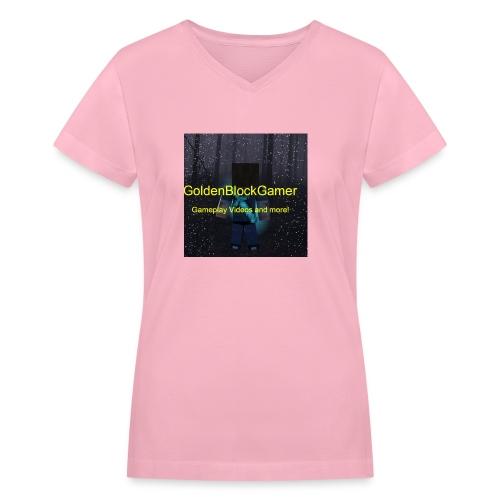 GoldenBlockGamer Tshirt - Women's V-Neck T-Shirt