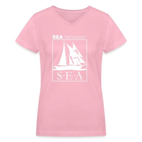 SEA_logo_WHITE_eps - Women's V-Neck T-Shirt