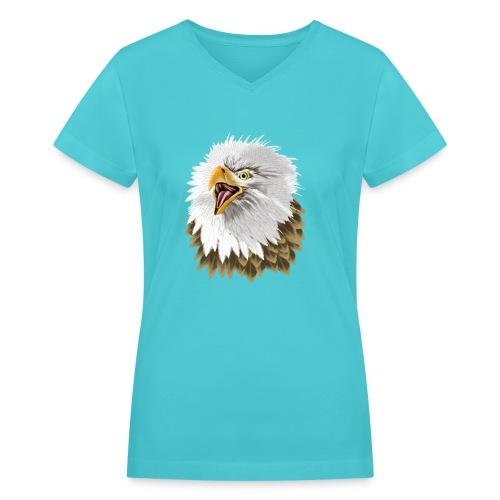 Big, Bold Eagle - Women's V-Neck T-Shirt