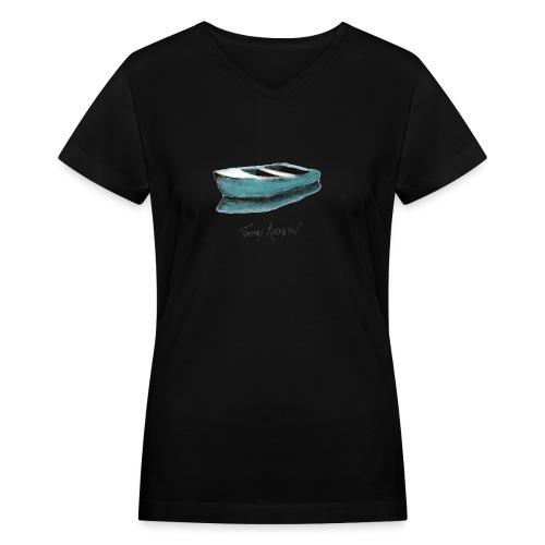Blue Boat Tshirt design4P - Women's V-Neck T-Shirt
