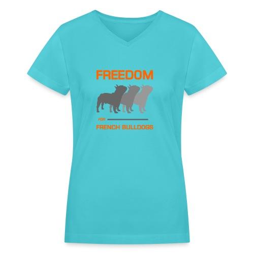 French Bulldogs - Women's V-Neck T-Shirt