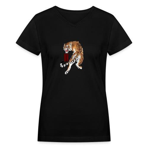 Beta12 / Japanese Tiger - Women's V-Neck T-Shirt