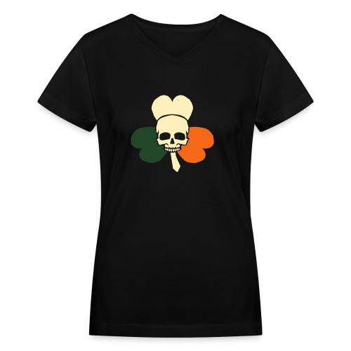 irish_skull_shamrock - Women's V-Neck T-Shirt