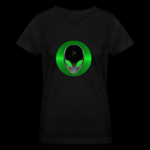 Psychedelic Alien Dolphin Green Cetacean Inspired - Women's V-Neck T-Shirt
