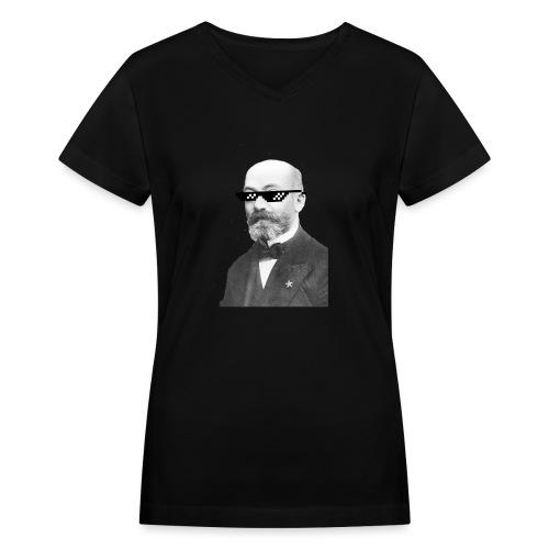 Zamenhof Shades (BW) - Women's V-Neck T-Shirt